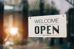Open Sign on Cafe or Restaurant Hang on Door at Entrance